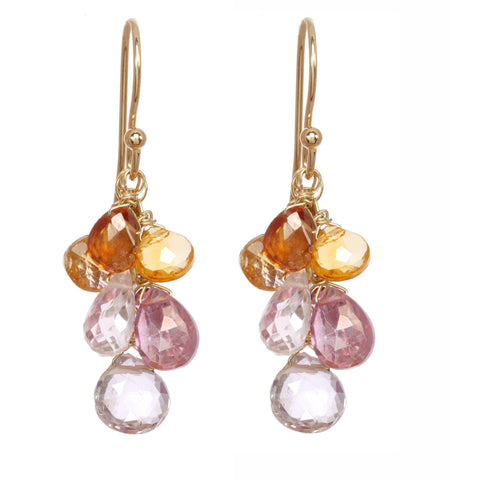 Michelle Pressler Earrings Pink Quartz and Carnelian Clusters 2506, Artistic Artisan Designer Jewelry