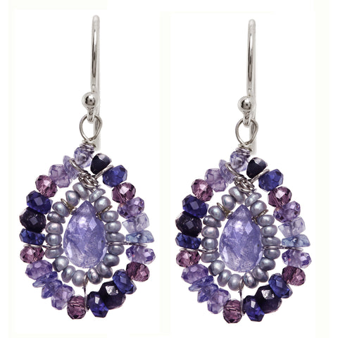 Michelle Pressler Earrings Purple Amethyst and Pearl 2362, Artistic Artisan Designer Jewelry