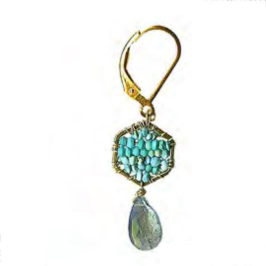 Michelle Pressler Jewelry Turquoise Labradorite Earrings 4500 Artistic Artisan Designer Jewelry