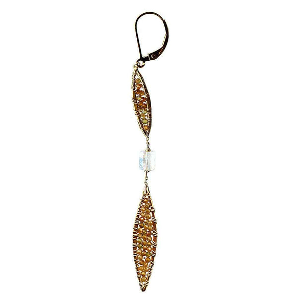 Michelle Pressler Jewelry Feathers Earrings 4840 with Multicolored Tourmaline and Moonstone Artistic Artisan Designer Jewelry