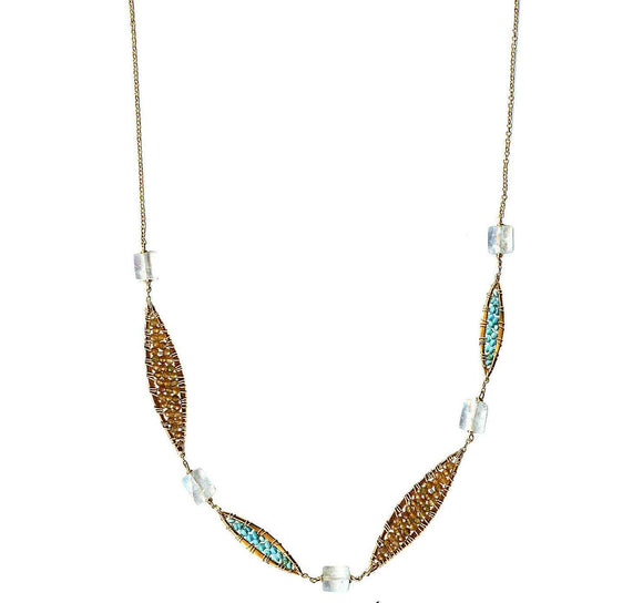 Michelle Pressler Jewelry Feathers Necklace 4839 with Multicolored Tourmaline Turquoise and Moonstone Artistic Artisan Designer Jewelry
