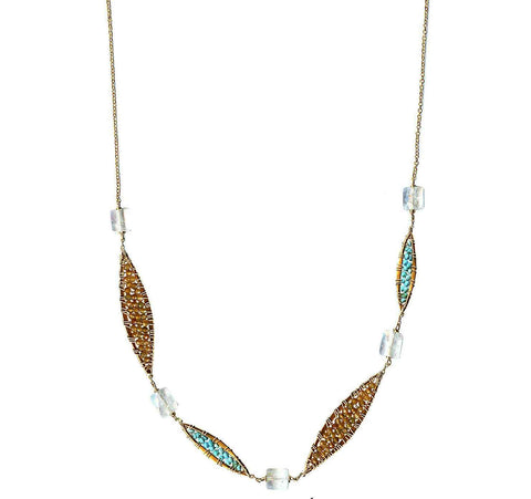 Michelle Pressler Feathers Necklace 4839 with Multicolored Tourmaline Turquoise and Moonstone Artistic Artisan Designer Jewelry
