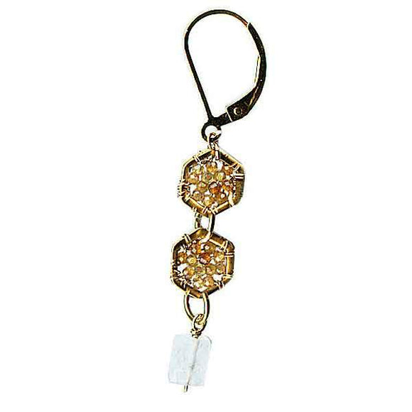 Michelle Pressler Jewelry Hexagon Earrings 4913 with Multicolored Tourmaline and Moonstone Artistic Artisan Designer Jewelry