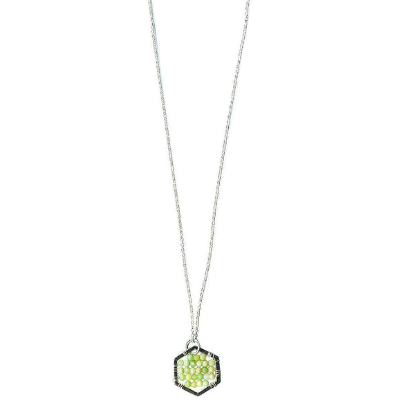 Michelle Pressler Jewelry Hexagon Necklace 4910 with Lemon Chrysoprase Artistic Artisan Designer Jewelry