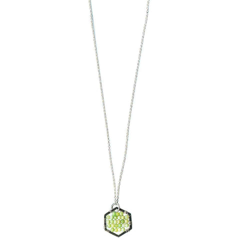 Michelle Pressler Hexagon Necklace 4910 with Lemon Chrysoprase Artistic Artisan Designer Jewelry