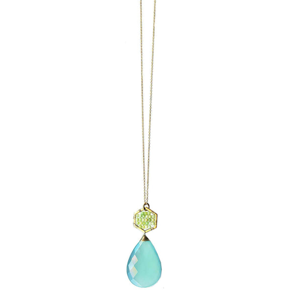 Michelle Pressler Jewelry Hexagon Necklace 4911 A with Lemon Chrysoprase and Aquamarine Artistic Artisan Designer Jewelry