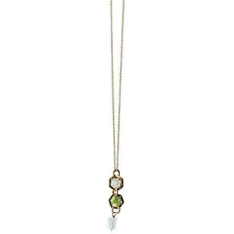 Michelle Pressler Jewelry Hexagon Necklace 4914 A with Australian Opal Lemon Chalcedony and Moonstone Artistic Artisan Designer Jewelry