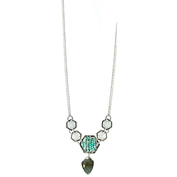 Michelle Pressler Jewelry Hexagon Necklace 4915 with White Natural Zircon Australian Opal Turquoise and Labradorite Artistic Artisan Designer Jewelry