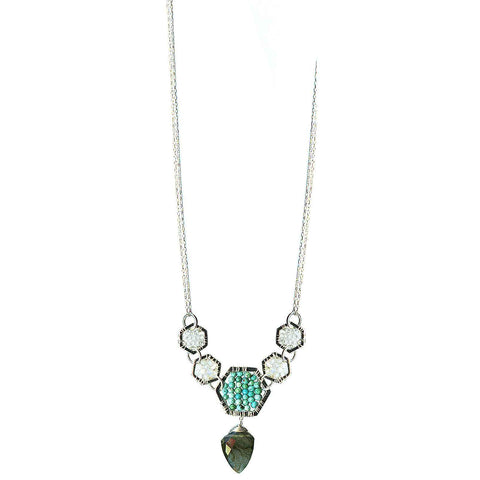 Michelle Pressler Hexagon Necklace 4915 with White Natural Zircon Australian Opal Turquoise and Labradorite Artistic Artisan Designer Jewelry