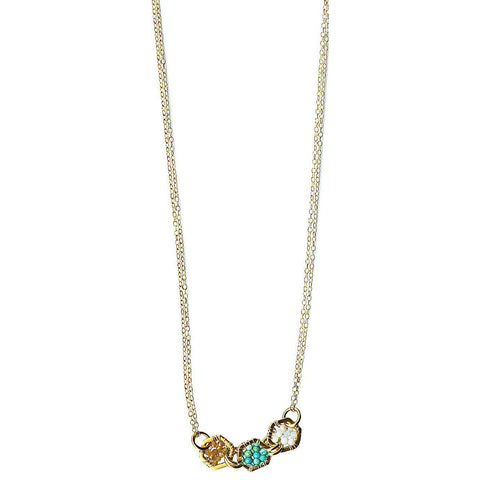 Michelle Pressler Jewelry Hexagon Necklace 4923 with Multicolored Tourmaline and Opal Artistic Artisan Designer Jewelry