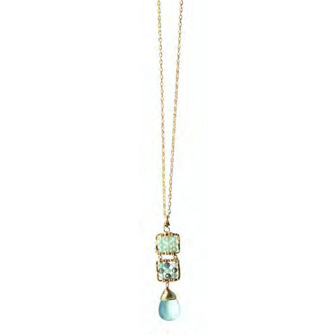 Michelle Pressler Jewelry Necklace 4244C B with Australian Sapphire and Opal Artistic Artisan Crafted Jewelry