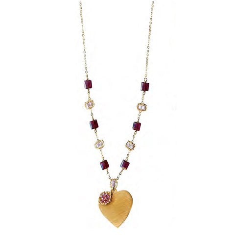 Michelle Pressler Jewelry Necklace 5020H with Garnet and Lavender Moonstone Artistic Artisan Crafted Jewelry