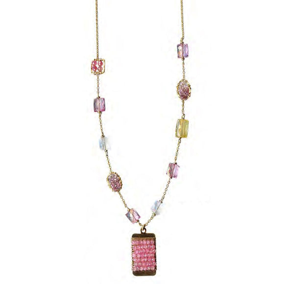 Michelle Pressler Jewelry Necklace 5020PT with Pink Topaz and Mixed Gemstones Artistic Artisan Crafted Jewelry