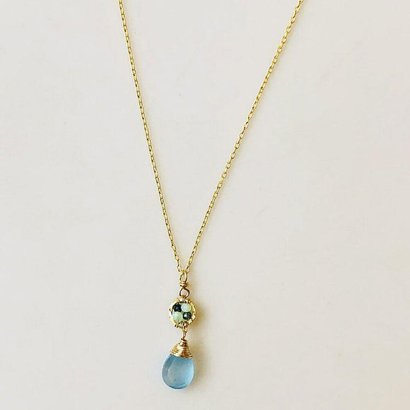 Michelle Pressler Jewelry Necklace 5067 Australian Sapphire Green Opal and Aqua Chalcedony Artistic Artisan Crafted Jewelry