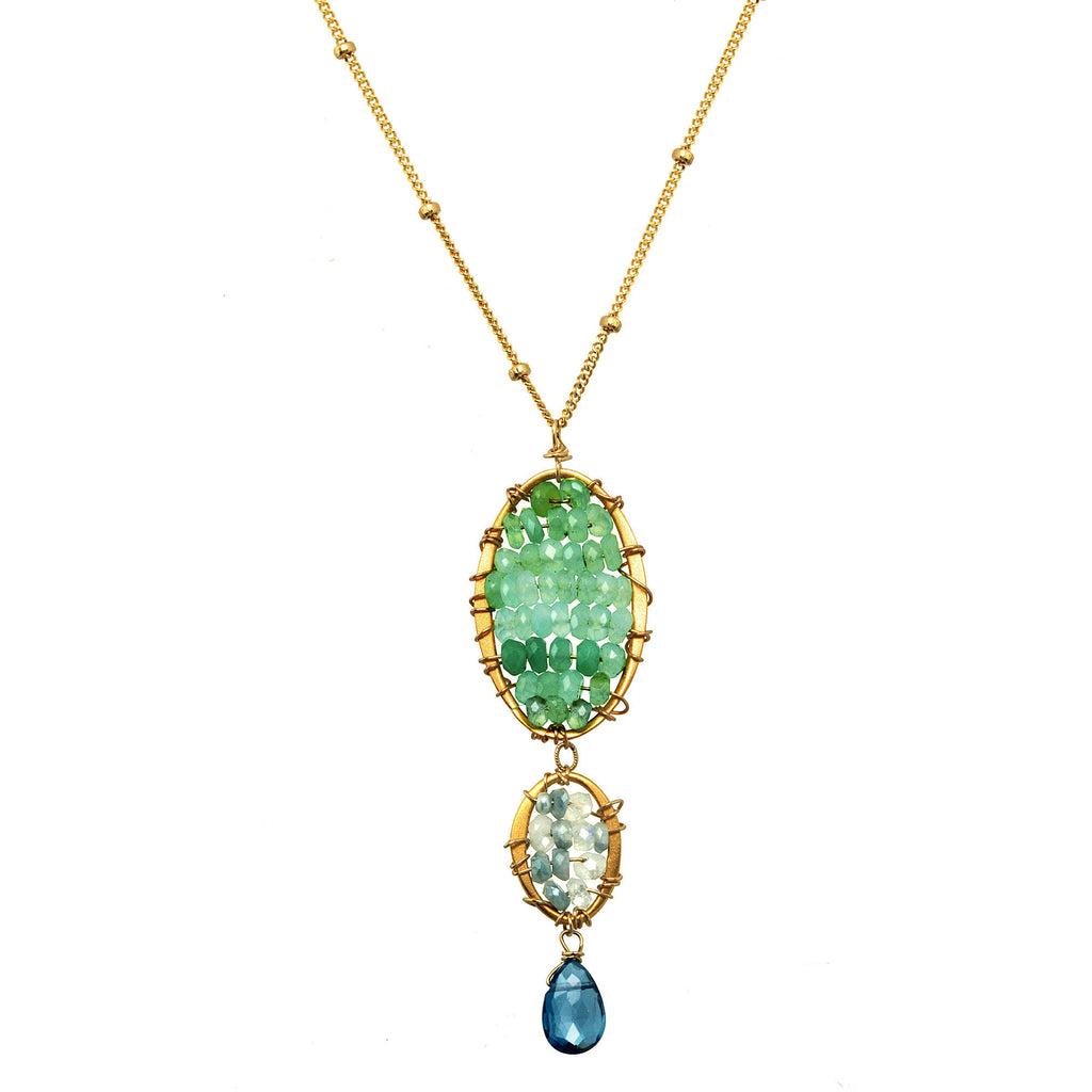 Michelle Pressler Necklace Chrysophrase and London Topaz 2962, Artistic Artisan Designer Jewelry