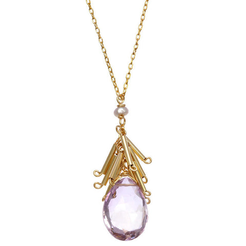 Fringed Pink Amethyst Necklace 2509 by Michelle Pressler