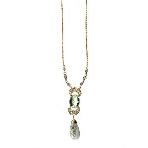 Michelle Pressler Jewelry Green Amethyst Solar Quartz Necklace 4302 Artistic Artisan Designer Jewelry