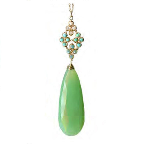 Michelle Pressler Jewelry Green Chalcedony Turquoise Necklace 4721 or 4721A Artistic Artisan Designer Jewelry