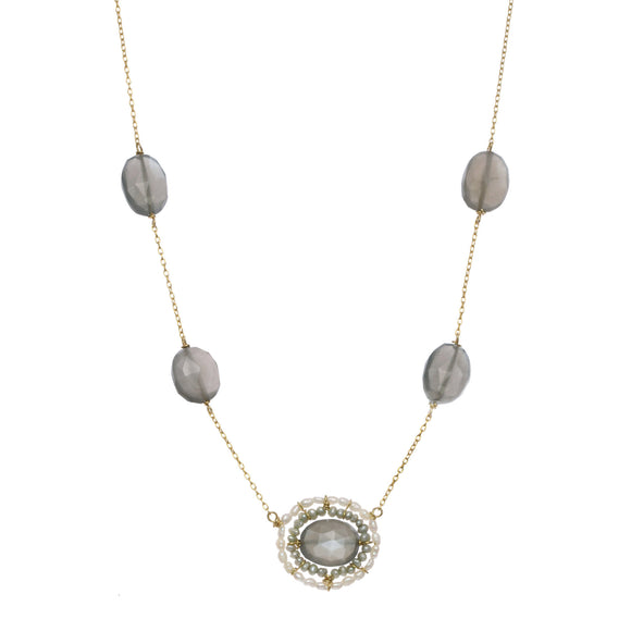 Michelle Pressler Necklace Grey Moonstone 2518, Artistic Artisan Designer Jewelry