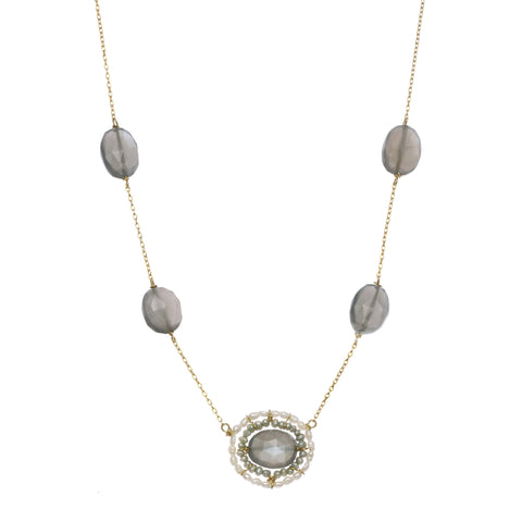Michelle Pressler Jewelry Necklace Grey Moonstone 2518, Artistic Artisan Designer Jewelry