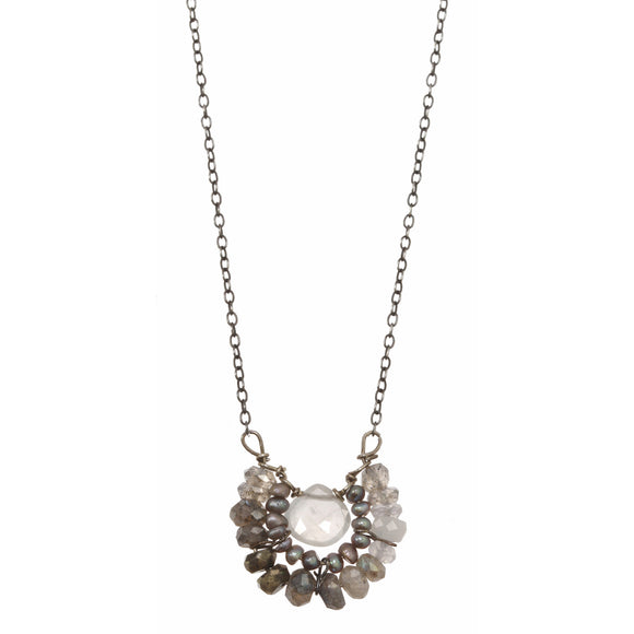 Michelle Pressler Jewelry Necklace Labradorite and Pearl 2353, Artistic Artisan Designer Jewelry