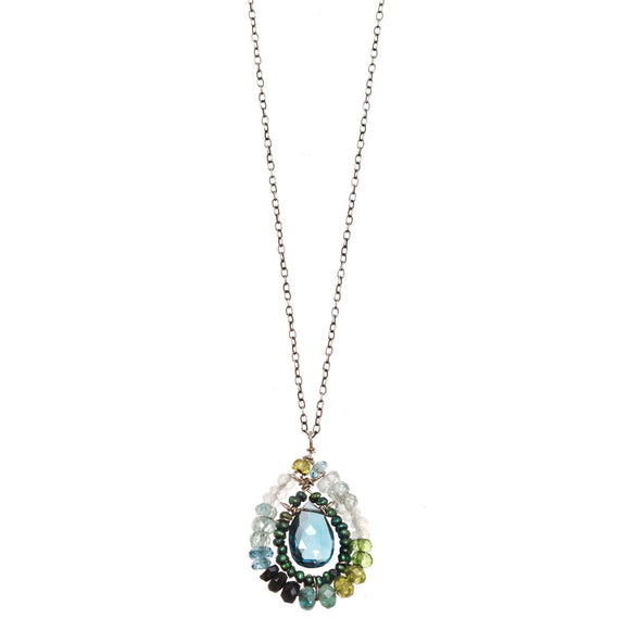 Michelle Pressler Necklace London Topaz 2357, Artistic Artisan Designer Jewelry