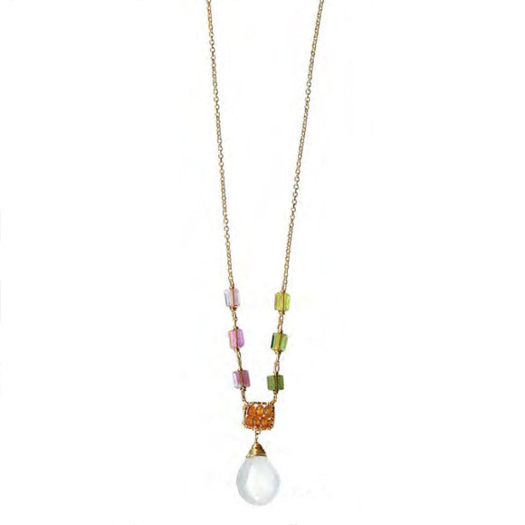 Michelle Pressler Jewelry Tourmaline White Moonstone Necklace 4708 Artistic Artisan Designer Jewelry