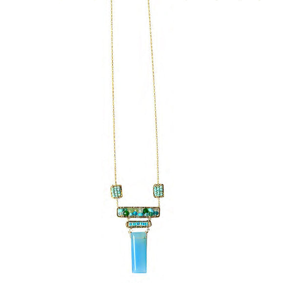 Michelle Pressler Turquoise Blue Chalcedony Necklace 4603 Artistic Artisan Designer Jewelry
