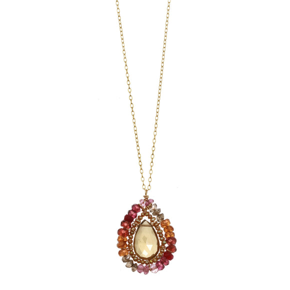 Michelle Pressler Jewelry Necklace Whiskey Quartz and Ruby 2357, Artistic Artisan Designer Jewelry