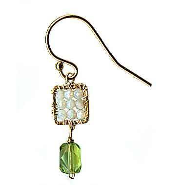 Michelle Pressler Jewelry Peridot Earrings 4636 A with Australian Opal Artistic Artisan Designer Jewelry