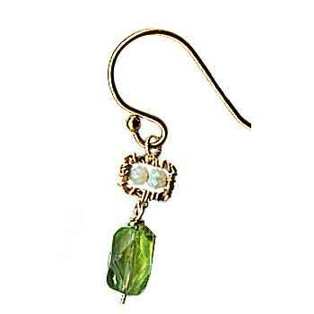 Michelle Pressler Jewelry Peridot Earrings 4675 A with Australian Opal Artistic Artisan Designer Jewelry