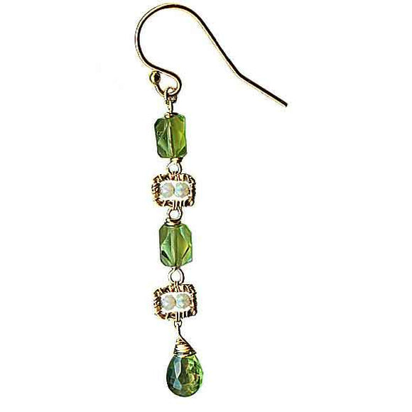 Michelle Pressler Jewelry Peridot Earrings 4679 A with Australian Opal Artistic Artisan Designer Jewelry