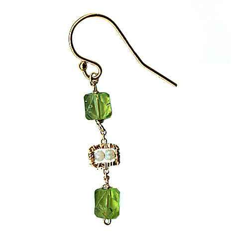 Michelle Pressler Jewelry Peridot Earrings 4680 A with Australian Opal Artistic Artisan Designer Jewelry