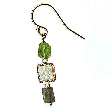Michelle Pressler Jewelry Peridot Earrings 4681 A with Australian Opal and Labradorite Artistic Artisan Designer Jewelry