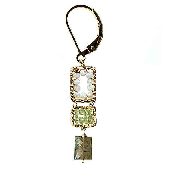 Michelle Pressler Jewelry Peridot Earrings 4972 with Australian Opal and Labradorite Artistic Artisan Designer Jewelry