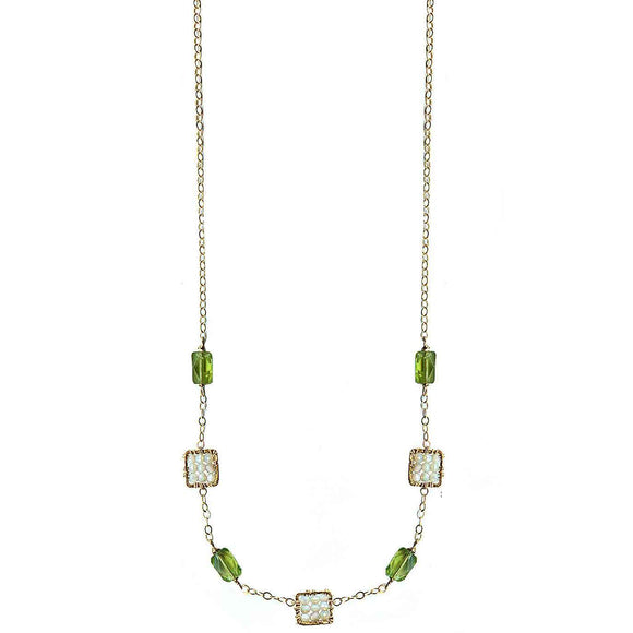 Michelle Pressler Jewelry Peridot Necklace 4634 with Australian Opal Artistic Artisan Designer Jewelry