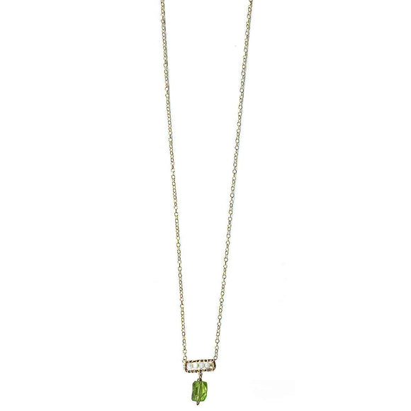 Michelle Pressler Peridot Necklace 4640 A with Australian Opal Artistic Artisan Designer Jewelry