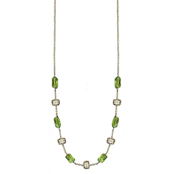 Michelle Pressler Peridot Necklace 4673 A with Australian Opal Artistic Artisan Designer Jewelry