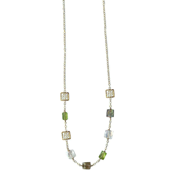 Michelle Pressler Jewelry Peridot Necklace 4701 with Australian Opal Artistic Artisan Designer Jewelry