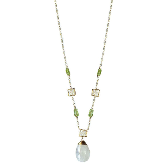 Michelle Pressler Jewelry Peridot Necklace 4703 with Australian Opal and Moonstone Artistic Artisan Designer Jewelry