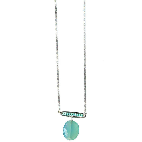 Michelle Pressler Pods Necklace 4941 with Turquoise and Chalcedony Artistic Artisan Designer Jewelry