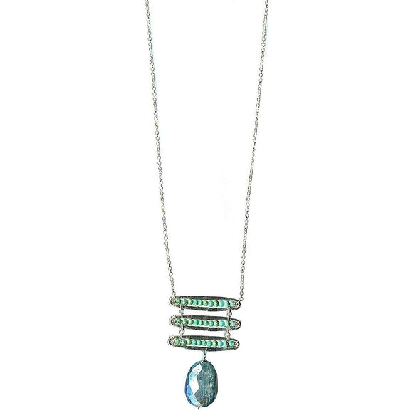 Michelle Pressler Pods Necklace 4942 with Turquoise and Blue Kyanite Artistic Artisan Designer Jewelry