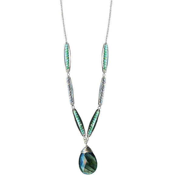 Michelle Pressler Jewelry Pods Necklace 4943 with Turquoise and Labradorite Artistic Artisan Designer Jewelry