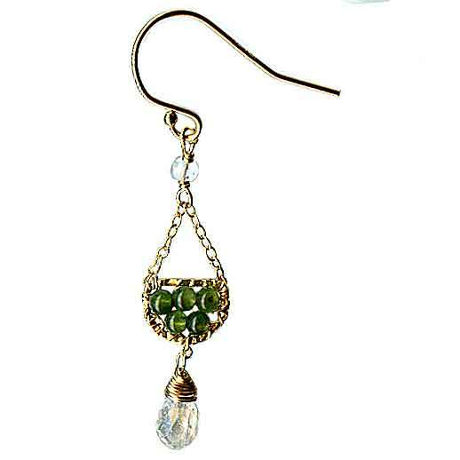 Michelle Pressler Scallop Earrings 4617 A with Green Jade and Aquamarine Artistic Artisan Designer Jewelry