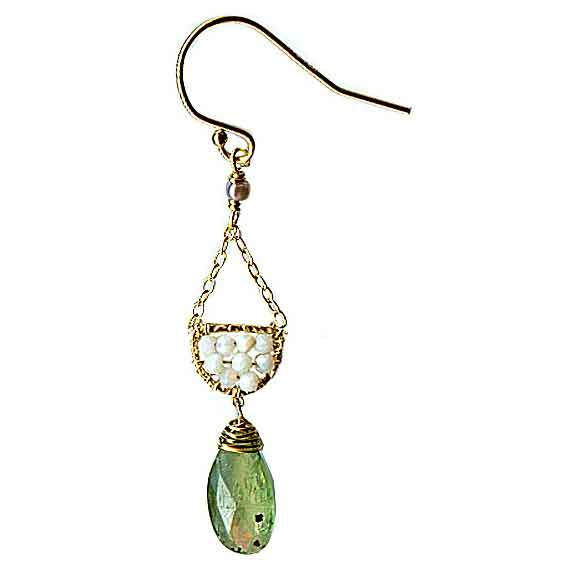 Michelle Pressler Jewelry Scallop Earrings 4617 B with Australian Opal and Green Kyanite Artistic Artisan Designer Jewelry