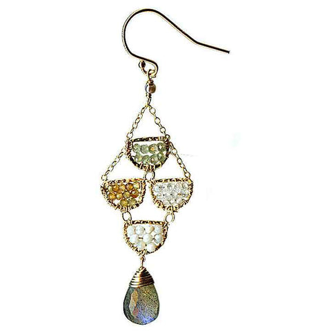 Michelle Pressler Scallop Earrings 4629 A with Mixed Gemstones and Moonstone Artistic Artisan Designer Jewelry