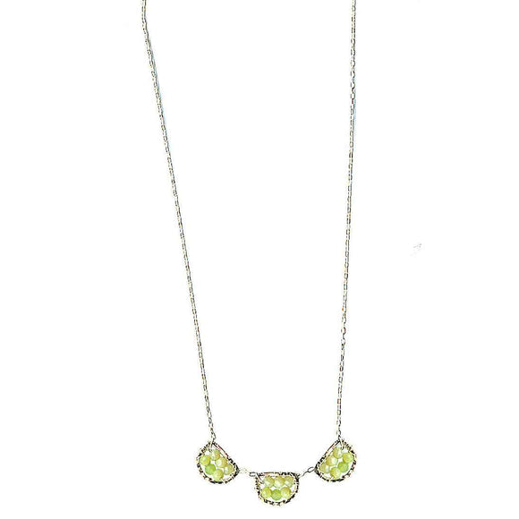 Michelle Pressler Scallop Necklace 4612 with Lemon Chrysoprase Artistic Artisan Designer Jewelry