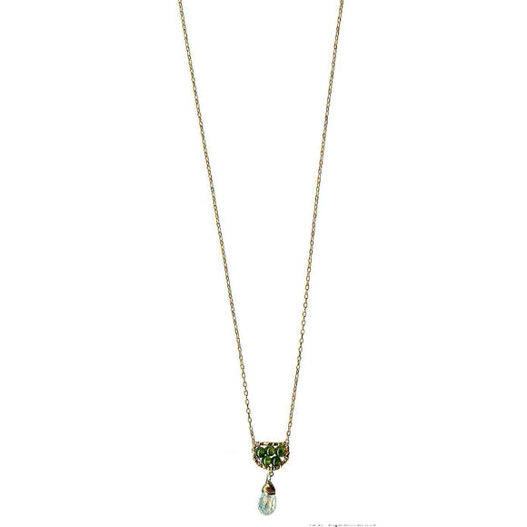 Michelle Pressler Scallop Necklace 4620 with Green Jade and Aquamarine Artistic Artisan Designer Jewelry