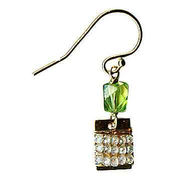 Michelle Pressler Tabs Earrings 5023 with Peridot and Natural Zircon Artistic Artisan Designer Jewelry