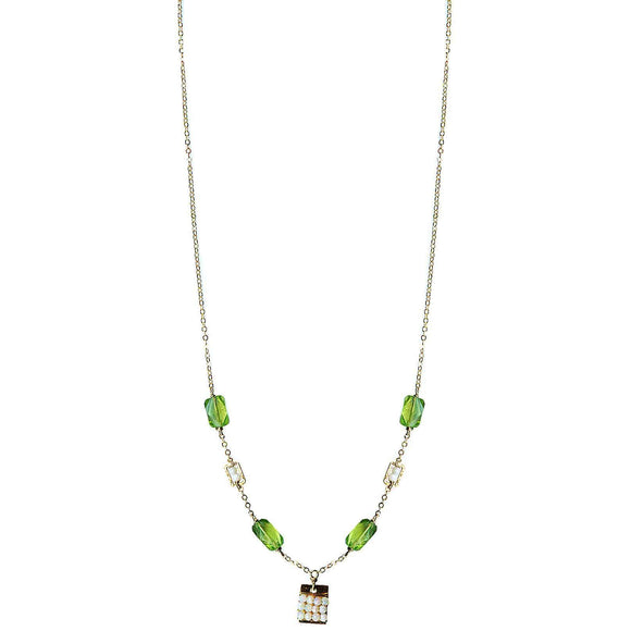 Michelle Pressler Jewelry Tabs Necklace 5022 with Peridot and Australian Opal Artistic Artisan Designer Jewelry
